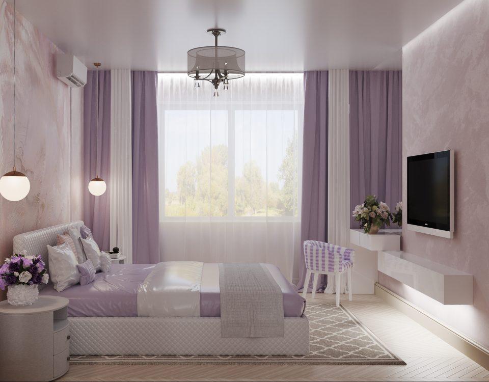 Спальня в лавандовых тонах.