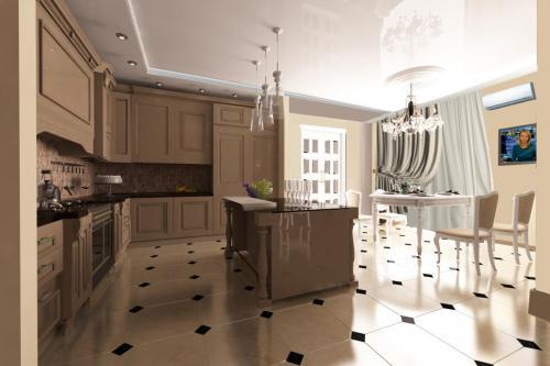 Потолки с лепным декором в классическом интерьере кухни-столовой