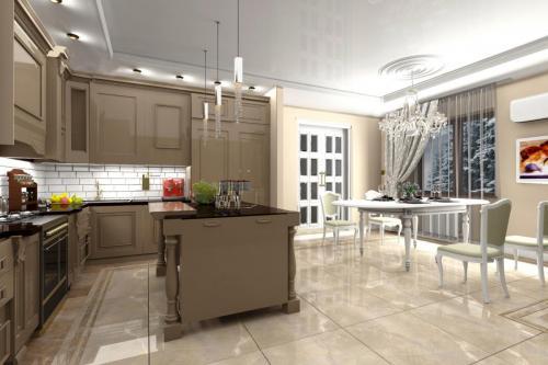 Кухня в классическом интерьере из массива