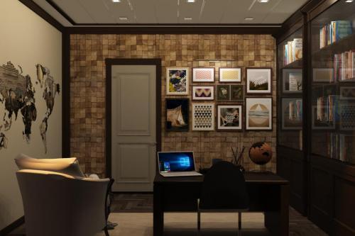 Деревянная панель в интерьере кабинета