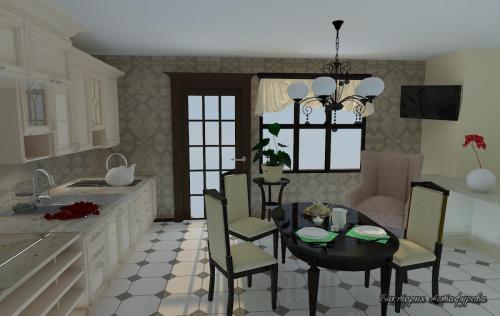 Столовая с красивой кухней