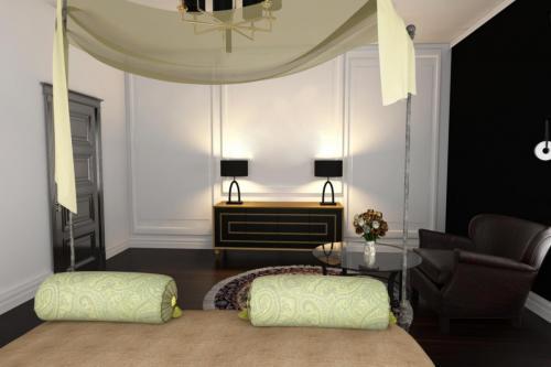 Интерьер спальни с цветами