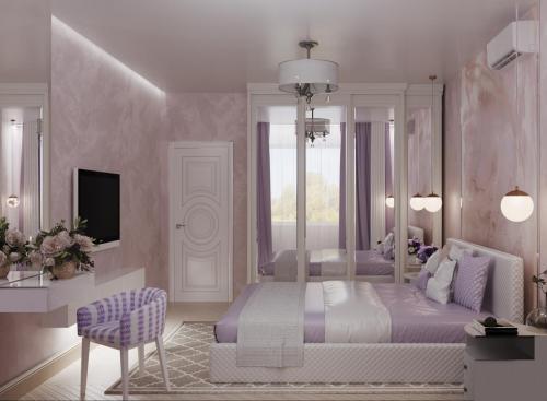 Спальня в лавандовых тонах