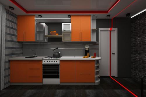 Оранжевая кухня для молодых людей