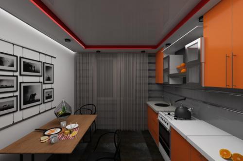 Оранжевая кухня в современном стиле