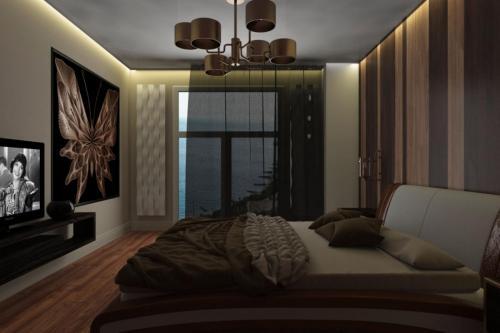 Спальня в современном стиле в теплых тонах
