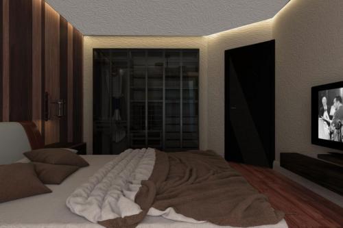 Спальня с панелью из дерева